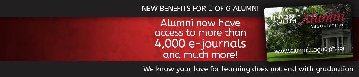 New benefits for U of G alumni. Alumni now have access to more than 4000 e-journals and much more! We know your love for learning does not end with graduation
