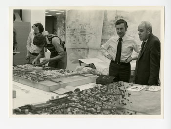 Macklin Hancock (second from right) with others designing King Abdulaziz University, Jeddah, Saudi Arabia, early 1970s