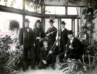 Members of the Sleeman family in the conservatory. XR1 MS A801 (Box 11, File 2)