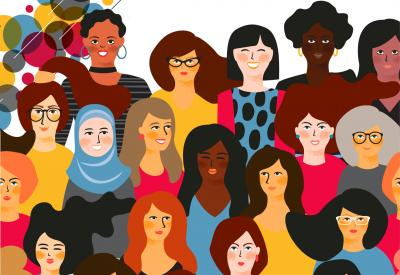 This image, on a white background, is of illustrations of women from a variety of cultural backgrounds. In the upper left hand corner of the image, there are decorative circles in red, blue, yellow, and black.