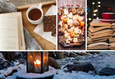 This graphic features four photos. Top left: an open book with a mug of hot chocolate and some chocolate, top middle: a platter with heart and star sugar cookies, decorated with pine cones, wooden stars, and cranberries, top right: a stack of open books with a red cup and saucer on top, bottom photo: a wintery outdoor shot with frozen water, rocks, and a glass lantern with a candle in it.