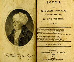 """Title page and frontispiece of """"Poems"""" by William Cowper"""