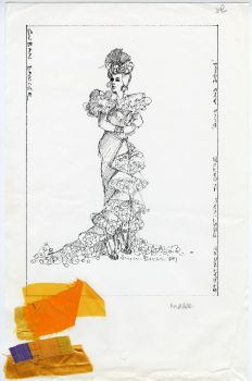 Susan Benson design of a woman with yellow fabric samples attached