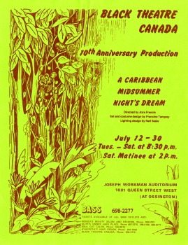Black Theatre Canada poster for a Caribbean Midsummer Night's Dream, July 1983.