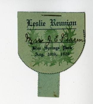 Luggage tag for a Leslie family reunion with a thistle.