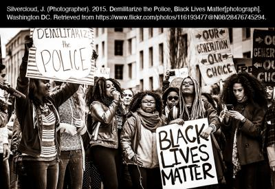 """Black Community Organizes Against Police Brutality"":  University of Chicago. (2020). Black Community Organizes Against Police Brutality [digitized image]. Chicago. Retrieved from Black Thought and Culture."