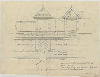 Sketch of the Garden House at the residence of J. B. McQuesten, Hamilton, ON, 1940