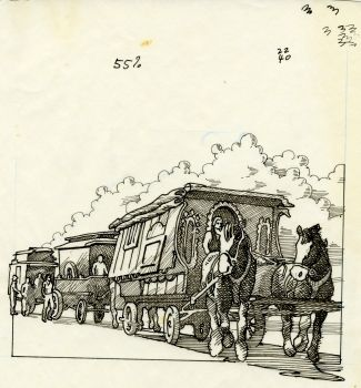 Artwork of horses pulling the Caravan Stage Company's wagons