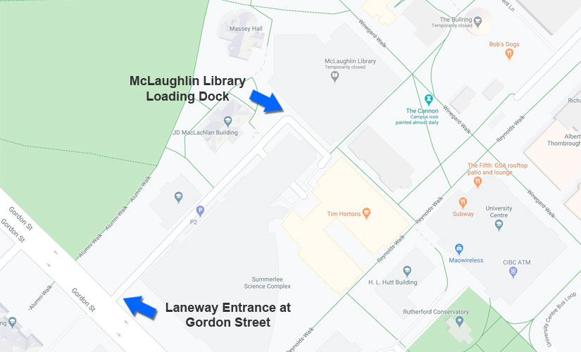 Access to the McLaughlin Library loading dock is available via the laneway entrace off of Gordon Street
